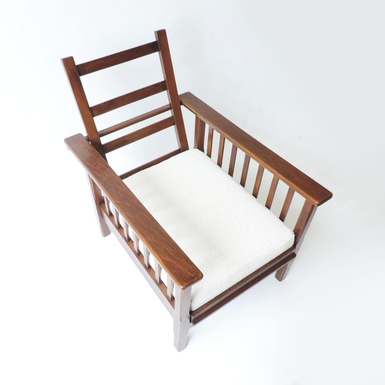 Italian Rationalist Adjustable Wooden Lounge Chair, Italy 1940s For Sale 1