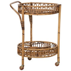 Italian Rattan and Bamboo Bar Cart by Bonacina