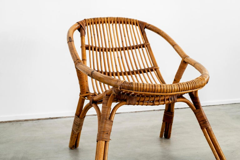 Italian Rattan and Bamboo Chairs In Good Condition For Sale In Los Angeles, CA