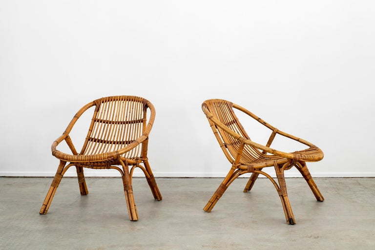 Mid-20th Century Italian Rattan and Bamboo Chairs For Sale