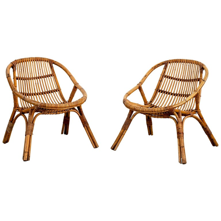 Italian Rattan and Bamboo Chairs For Sale