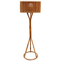 Italian Rattan and Bamboo Floor Lamp, circa 1960s