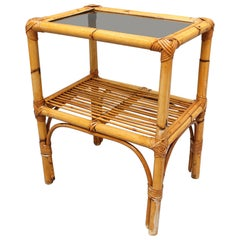 Italian Rattan and Bamboo Side Table, circa 1960s