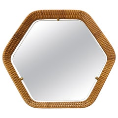 Italian Rattan and Brass Hexagon Shaped Mirror by Cantu, 1950s