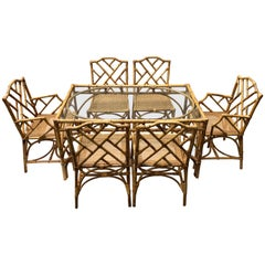 Italian Rattan and Cane Dining Set by Dal Vera
