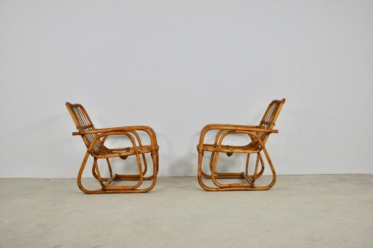 Mid-Century Modern Italian Rattan Armchair 1960s Set of 2 For Sale