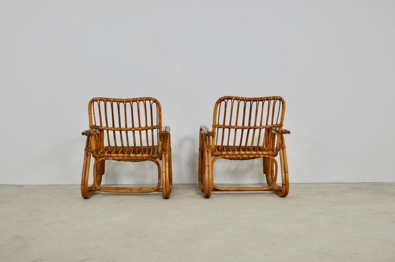 Italian Rattan Armchair 1960s Set of 2 In Good Condition For Sale In Lasne, BE
