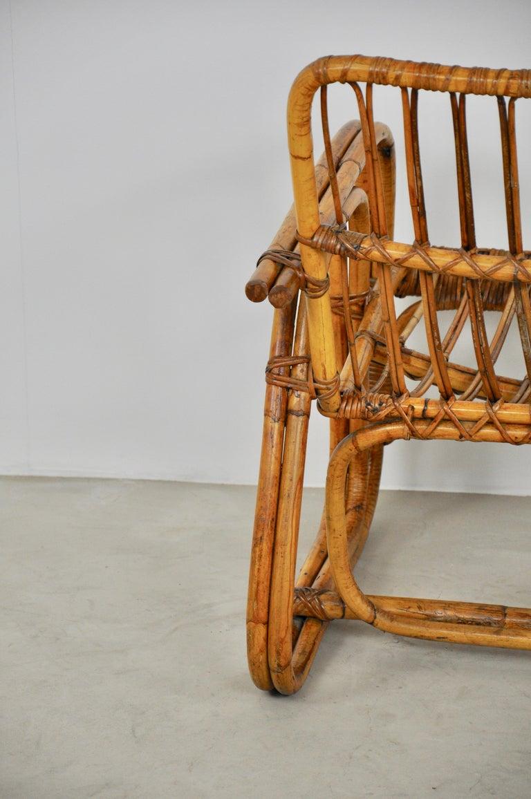 Mid-20th Century Italian Rattan Armchair 1960s Set of 2 For Sale