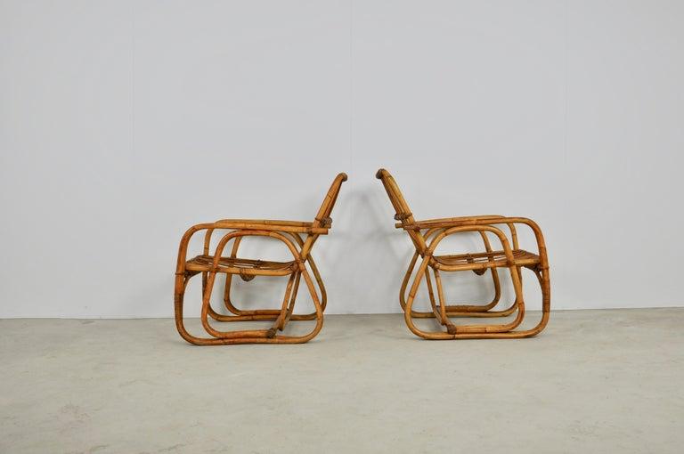 Italian Rattan Armchair 1960s Set of 2 For Sale 1