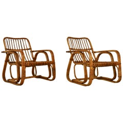 Italian Rattan Armchair 1960s Set of 2