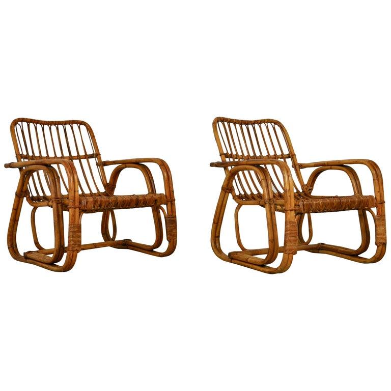 Italian Rattan Armchair 1960s Set of 2 For Sale