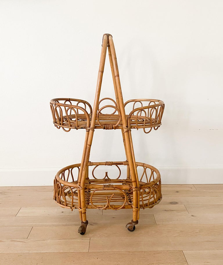 Italian Rattan Bar Cart In Good Condition For Sale In Los Angeles, CA