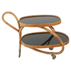 Italian Rattan Bar Cart