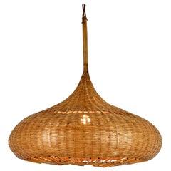Italian Rattan Ceiling Lamp, 1960s