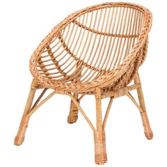 Italian Rattan Children's Chair 1950s