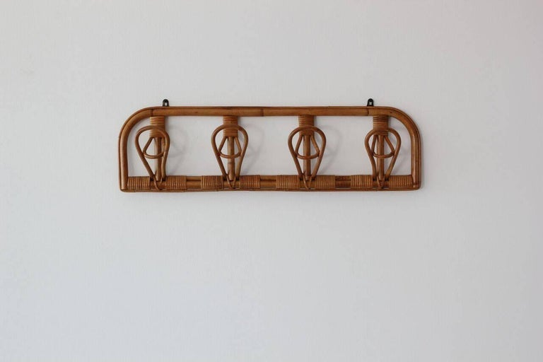 Mid-20th Century Italian Rattan Coat Rack For Sale
