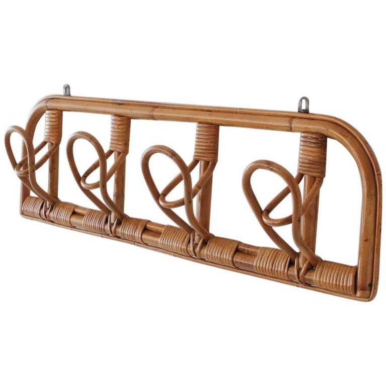 Italian Rattan Coat Rack For Sale