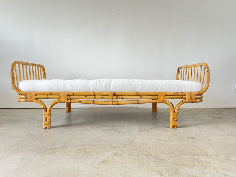 Late 20th Century Italian Rattan Daybed For Sale