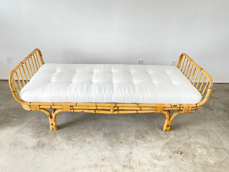 Bamboo Italian Rattan Daybed For Sale