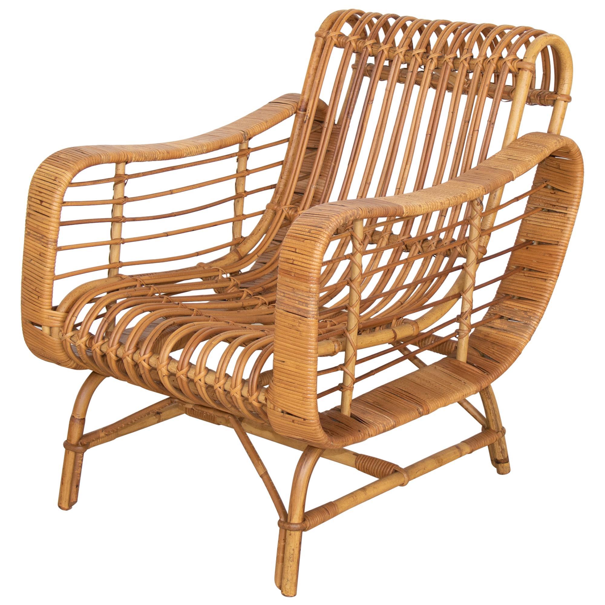 Italian Rattan Lounge Chair