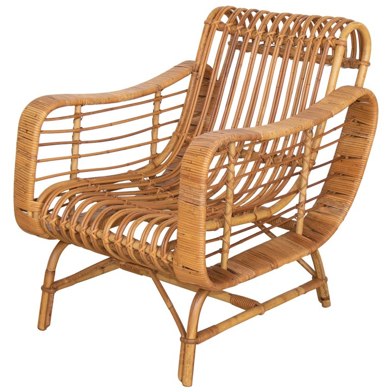 Rattan lounge chair, 1950s, offered by Panoplie