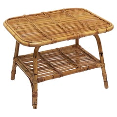 Italian Rattan Midcentury Accent Table of Cane and Bamboo
