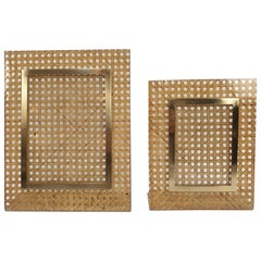 Italian Rattan Picture Frames, 1970s, Set of 2