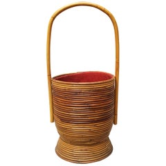 Italian Rattan Sewing Basket, 1950s