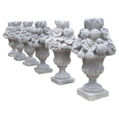 Italian Recomposed Limestone Fruit and Flower Vases 'Sold Individually'