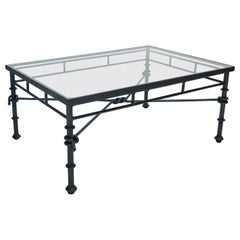 Italian Rectangular Black Iron Knot and Rope Coffee Table with Glass Top