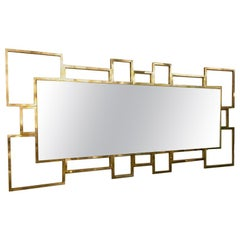 Italian Rectangular Brass Frame Mirror Geometric Shape, 1980s