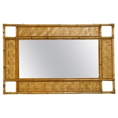 Italian Rectangular Mirror with Bamboo, Rattan and Wicker Structure, 1970s