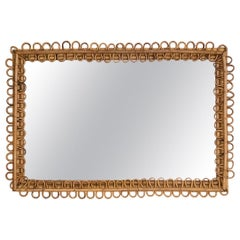 Italian Rectangular Rattan Mirror