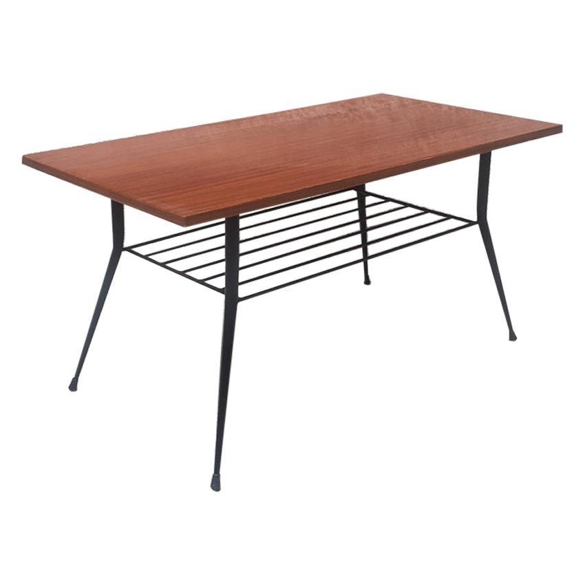 Italian Rectangular Wood and Metal Coffee Table, 1950s