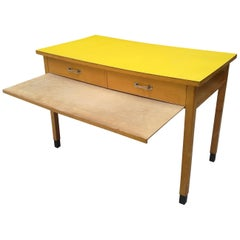 Italian Rectangular Yellow Table with Two Drawers and Chromed Handles, 1960