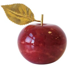 Italian Red Alabaster Marble Apple with Brass Gold Leaf