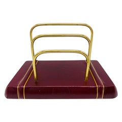 Italian Red and Gold Leather and Brass Letter Organizer, 1980s