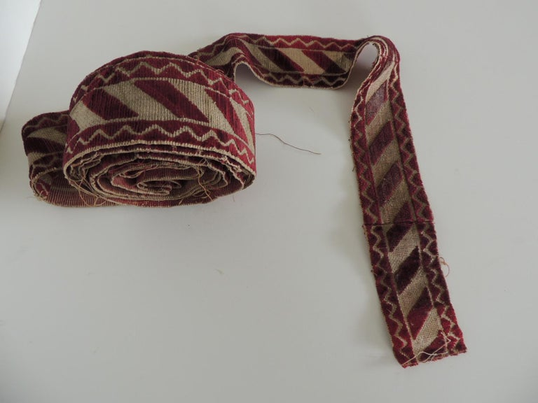 Regency Italian Red and Gold Woven Antique Trim For Sale
