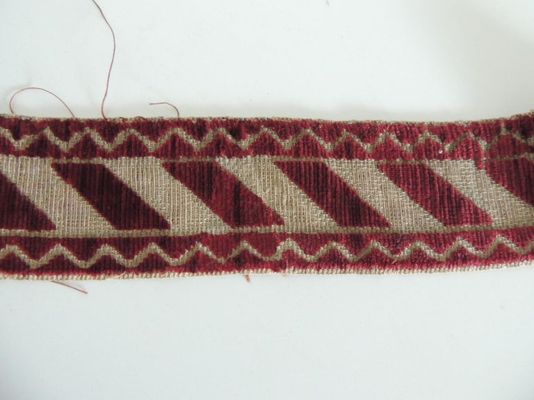 Hand-Crafted Italian Red and Gold Woven Antique Trim For Sale