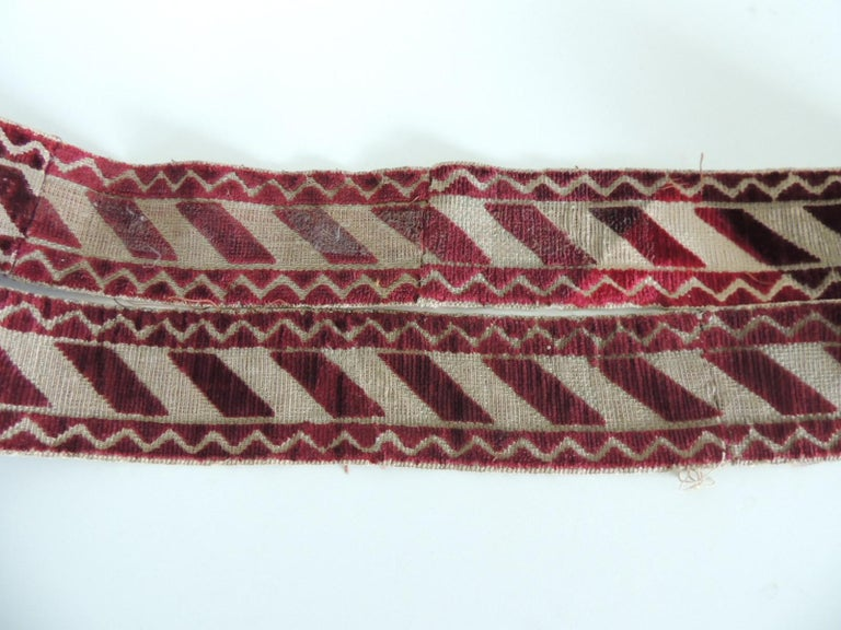Italian Red and Gold Woven Antique Trim In Good Condition For Sale In Oakland Park, FL