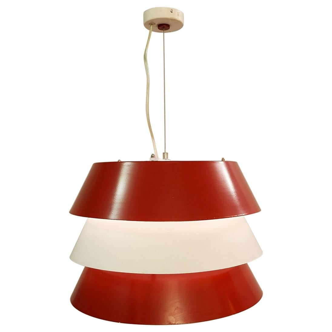 Italian Red and White Metal Pendant Lamp, 1960s