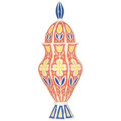 Italian Red Blue Green Yellow Ceramic 1960s Urn by Sicas Sesto Fiorentino