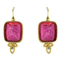 Italian Red Cameo Vermeil Drop Earrings