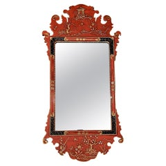 Italian Red Chinese Chippendale Wall Mirror by Palladio