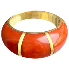 Italian Red Coral 18 Karat Gold Ring