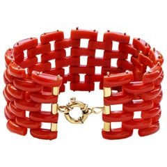 Italian Red Coral Bracelet Mounted in Yellow 18 Karat Gold