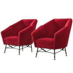 Italian Red Easy Chairs, circa 1950