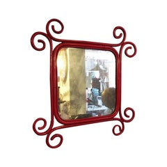 Italian Red Enameled Rattan Mirror, by Franco Albini and Franca Helg, 1960s