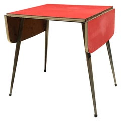 Italian Red Formica Kitchen Table with Double Foldable Top on Both Sides, 1960s