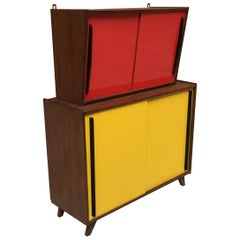Italian Red Formica Wall Unit and Yellow Formica Sideboard, 1960s